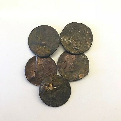 Lot of 5 Uncleaned 1808 East India Company X Cash: Admiral Gardner Shipwreck #2