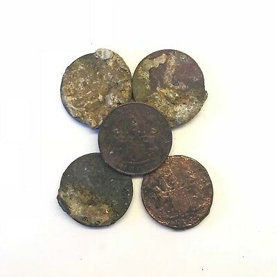 Lot of 5 Uncleaned 1808 East India Company X Cash: Admiral Gardner Shipwreck #4