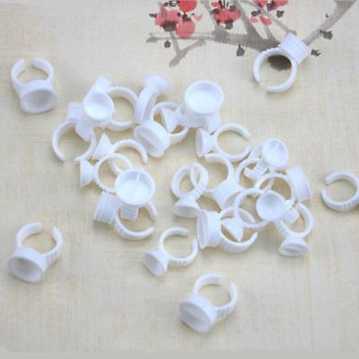 100Pcs Embroidered Ring Cup Eyelash Plastic Glue Tattoo Pigment Holders White-DE