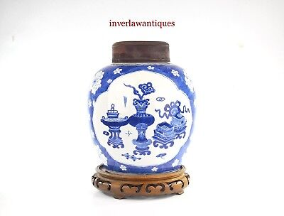 A Qing Dynasty Blue White Jar With Hardwood Cover And Stand