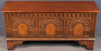 Titchmarsh And Goodwin Jacobean Style Small Carved Oak Coffer Blanket Box RL57A