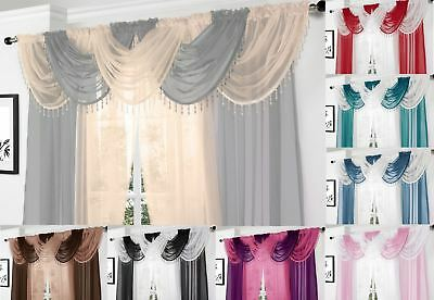 """Voile Curtain Swag Swags Drape Pelmet Valance Net 22x18"""" With Decorative Beads"""