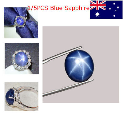 5PCS Superb Sharp 6 Rays Star Royal Blue Sapphire Oval Cabochon NATURAL 4.5ct AU