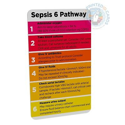 Sepsis 6 Pathway (Doctor, Nurse, Student, Paramedic) pocket reference card