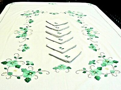 Gorgeous White Cotton Hand Crafted Tablecloth & 6 Napkins