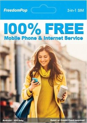#1 SELLING -- FREEDOMPOP Nationwide 4G LTE 3-in-1 Basic Free SIM Card Kit