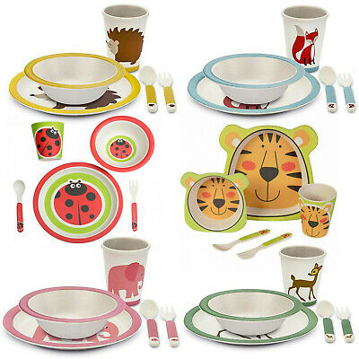 Kids Bamboo Dinner Breakfast Eco Dish Set, 5 Pcs - Plate, Bowl, Mug, Spoon, Fork