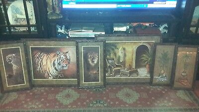 "Homco home interior safari picture grouping """"great condition """""" Set Of 6 LOOK"
