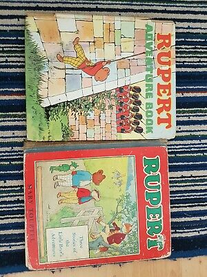 Vintage rupert bear annuals - Mary Tourtel M & S 1940s and Adventure Book