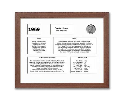 Personalised 50th Birthday Framed Souvenir of 1969 Gift Set (2019)