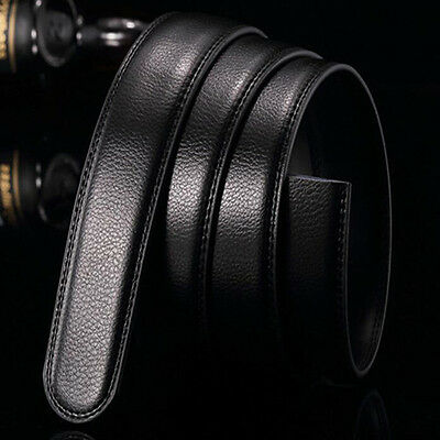 Black Luxury Men PU Leather Belt Wristband Strap Without Automatic Buckle Kit;