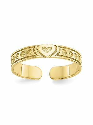 10k Yellow Gold Heart Adjustable Toe Ring - 0.64 Grams