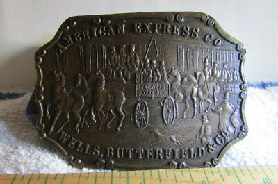 Vintage American Express Co. Wells Butterfield & Co Brass Belt Buckle