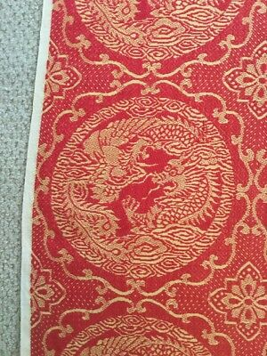 Antique Primitive Asian IMPORT Red Gold DRAGON Woven Jacquard Coverlet Tapestry