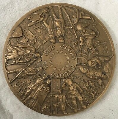 """MACO. 1977 Calendar Medal, """"Salute to Old Glory"""" by Marcel Jovine"""