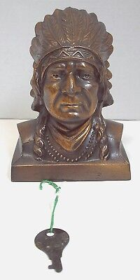 """Cheshire County Savings Bank of Keene, NH """"Man with Feather Headress"""" Coin Bank"""