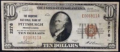 1929 $10.00 National Currency, The Duquesne National Bank of Pittsburgh, PA!