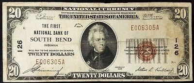 1929 $20.00 National Currency, The First National Bank of South Bend, Indiana!