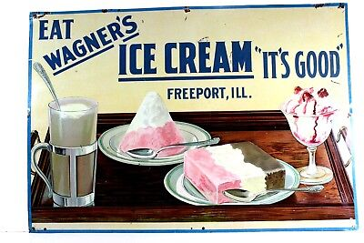 """Freeport, Il. Antique """"wagner's Ice Cream"""" Tin Sign,  Very, Very Rare From 1928"""