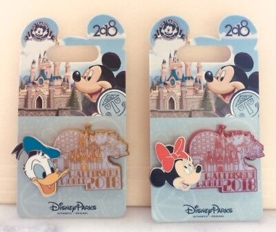 Disney Parks Walt Disney World 2018 Minnie & Donald 3D Pins (1 Set Of 2 Pins)