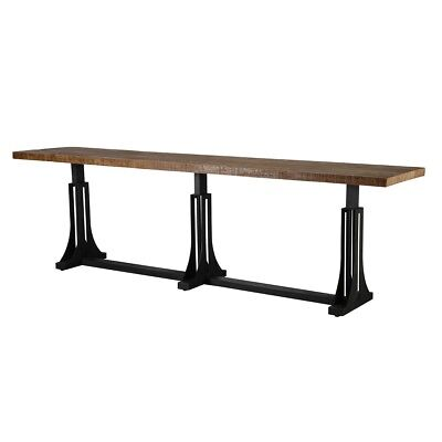 """118"""" Dining Table Solid Reclaimed Pine Wrought Iron Iron Base - Black Seats Up"""