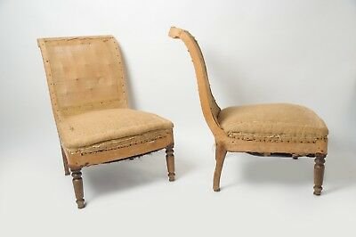 Antique French Pair Of Slipper Chairs, Napoleon III, Original, 19th Century