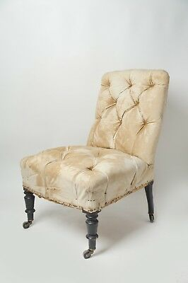 Antique French Button Chair, Original, Napoleon III, Upholstery, Slipper Chair