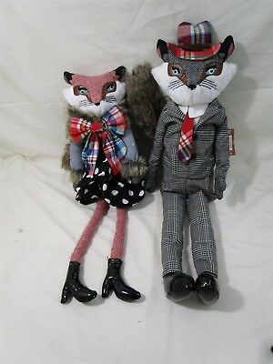 "Debi Lilly Portland OR Foxy Couple Mr & Mrs 24"" Fox Dolls"