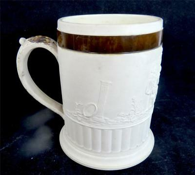 C1800 Large Antique Adams Stoneware Mug Tankard Tavern Scenes