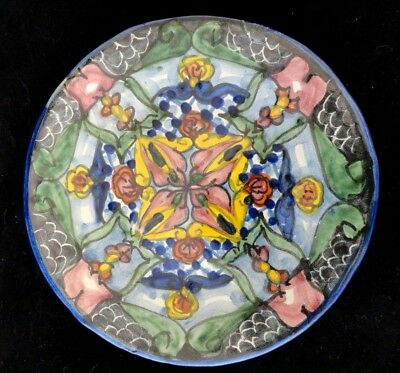 "Vintage Hand Painted Mexico Talavera Blue Yellow 6"" Dish Plate"