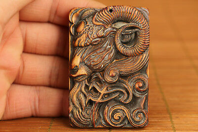 Rare chinese old Wood Hand Carved Devil Sheep Statue Netsuke Pendant