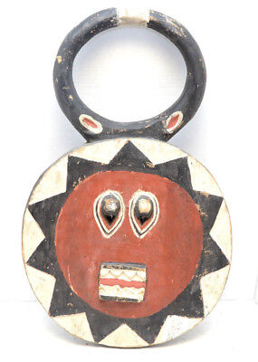 "Baule 'Goli' Kple Kple Mask 21.5"" Ivory Coast African Tribal Art round Painted"
