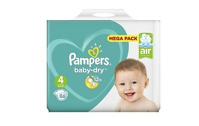 Mega Pack 86 Couches Pampers baby-dry Taille 4 de 9 à 14 kg