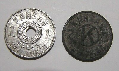 2 KANSAS CONSUMER'S 1m & 2m SALES TAX TOKENS (FREE SHIPPING)