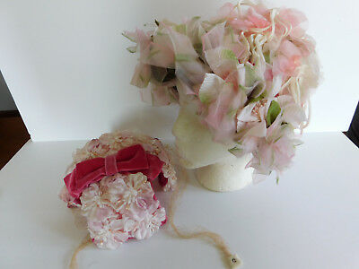 2 Vintage Hats  Millinary Loaded With Pink Flowers