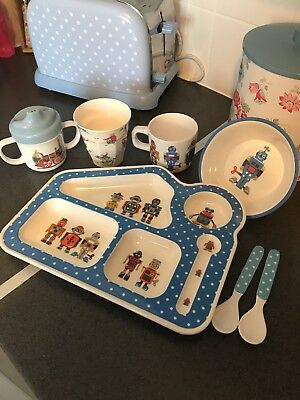 Boys Cath kidston Plate Cup Bowl Cutlery Bottles Spoons Lunch Tray  utensils