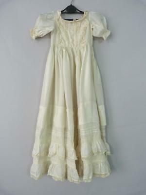 Original antique Victorian ivory silk Christening dress / gown with lace