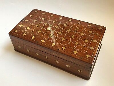 Antique 19th Century Gothic Revival Mahogany & Brass Inlaid Box - Circa 1840