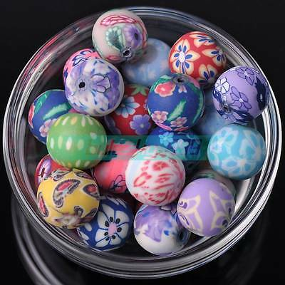 20pcs 15mm Ball Shape Polymer Clay Loose Spacer Beads Random Mixed