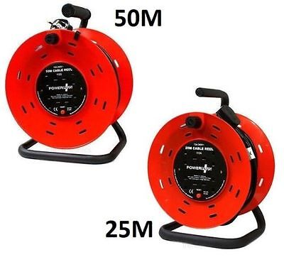 25M & 50M 4 Way Heavy Duty Cable Extension Reel Lead Mains Socket 10 Amp & Stand