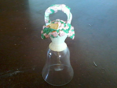 1994 Avon Valentine Resin Floral Basket of Hearts on Glass bell