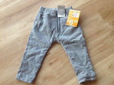 Next boys grey cord cotton trousers 9-12 months bnwt.