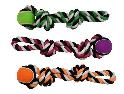 3-Pack Heavy-duty Tennis Ball Chewy Rope with Handle Dog Toy for M/L Sized Dogs