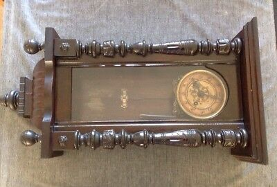 Vienna Clock Three Glass Panels Case 77 X 40 X 20cm Untested For Repair Or Parts