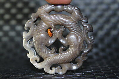 China Decoration Collection Exquisite Old Jade Carved Fly Dragon Elegant Pendent
