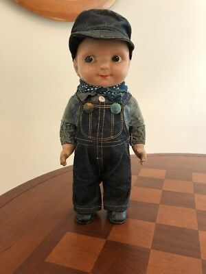 Rare Original BUDDY LEE Composition Doll  Engineer in Union Made Overalls w/Cap