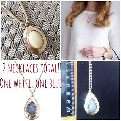 2 Hammered Metal / Natural Stone Necklace Blue & White Boho Tribal