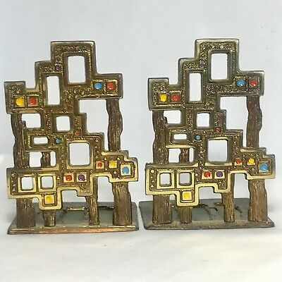 Vintage Abada Brass Bookends Israel