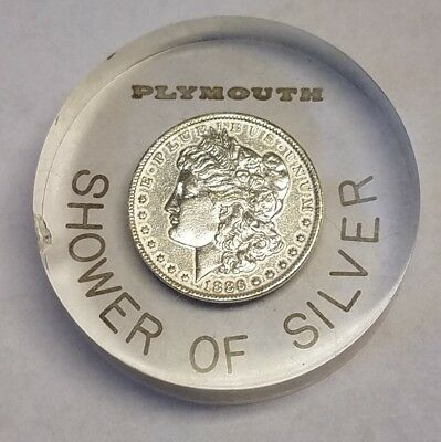 Plymouth Shower of Silver 1886-O Morgan Silver Dollar Lucite Promo Paper Weight