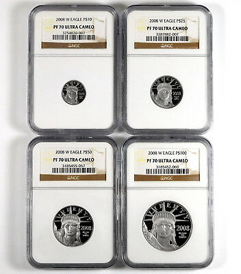 2008-W Platinum American Eagle 4-Coin Proof Set - NGC PF 70 Ultra Cameo